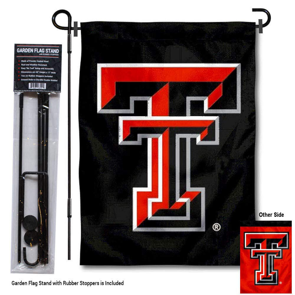 College Flags and Banners Co. Texas Tech Red Raiders Dual Logo Garden Flag with Pole Stand Holder