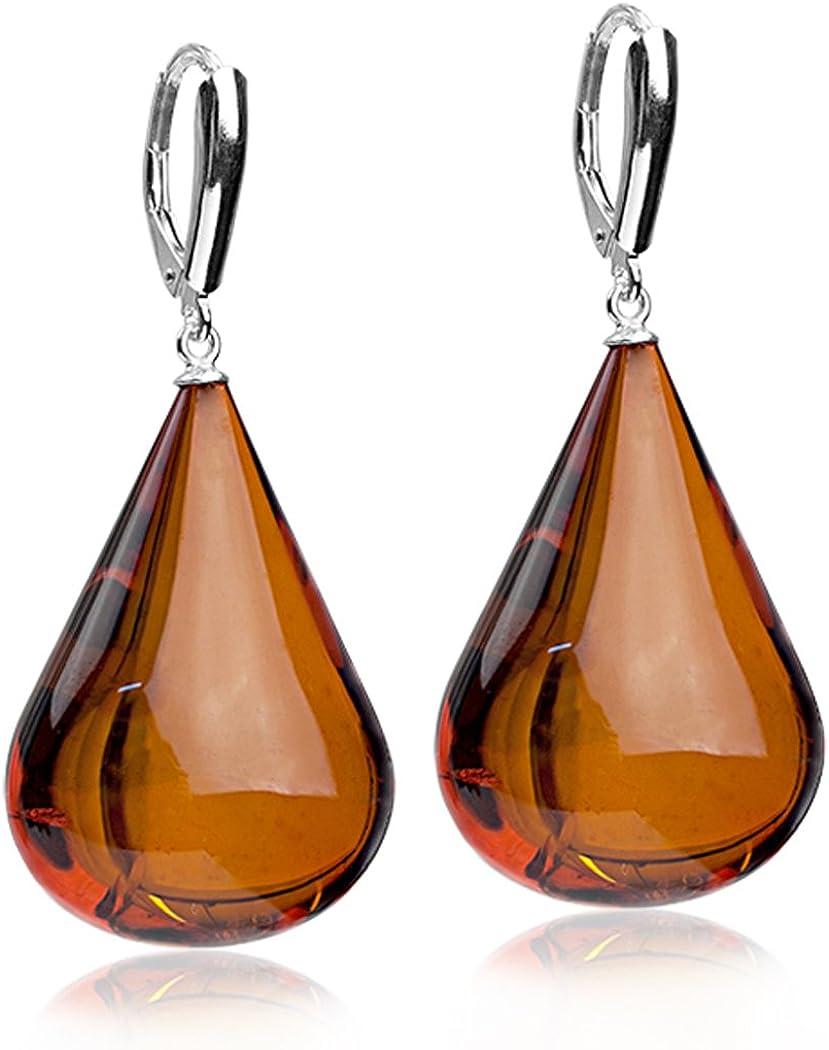 Sterling Silver Amber Drop Leverback Earrings
