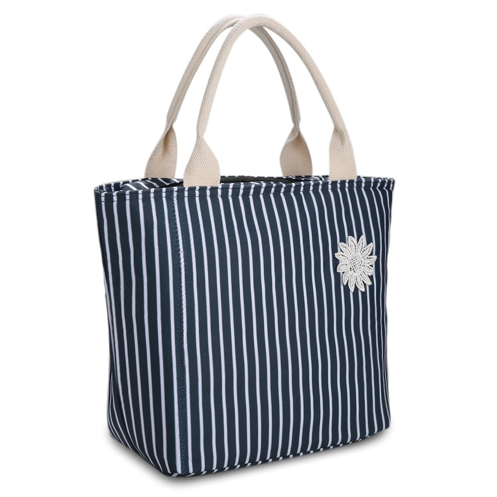 VARANO Lunch Bag - Insulated Reusable Lunch Tote Organizer Bag/Large Capacity Lunch Box Foldable Lunch Tote Cooler for Women and Girls Adults (Blue)