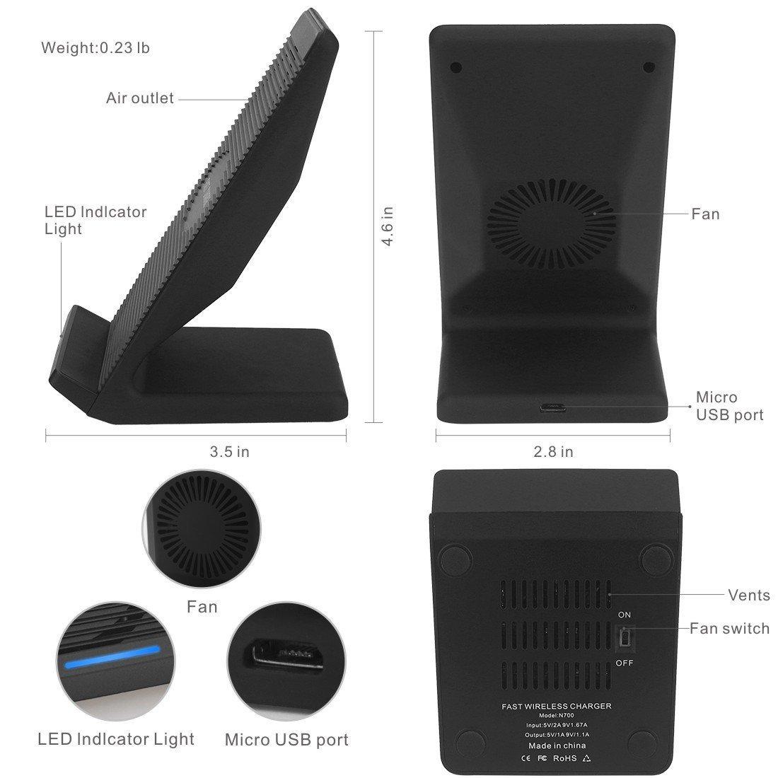 Certificato Qi Xnuoyo Caricabatterie Wireless Compatibile con Smartphone e Altro Caricabatterie Wireless 10W con Ventola di Raffreddamento