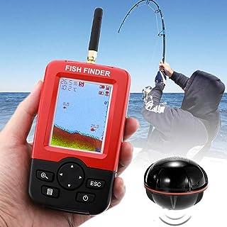 Engins de pêche Détecteur de poissons sans fil Capteur de sonar 125KHz 0.6-36m de profondeur Localisateur de poissons avec antenne écran LCD de 2,4 pouces, capteur de température de l'eau intégré ju-sheng