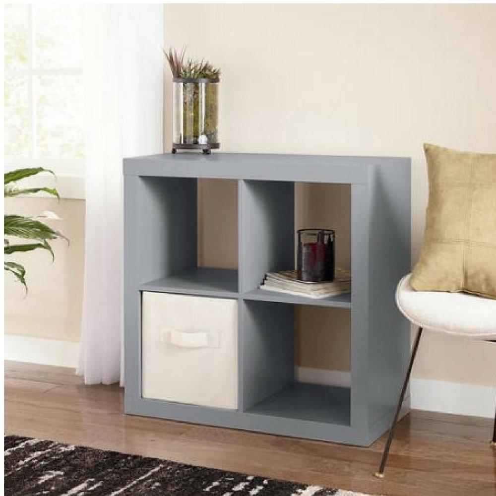 Better Homes and Gardens Bookshelf Square Storage Cabinet 4-Cube Organizer (Gray)