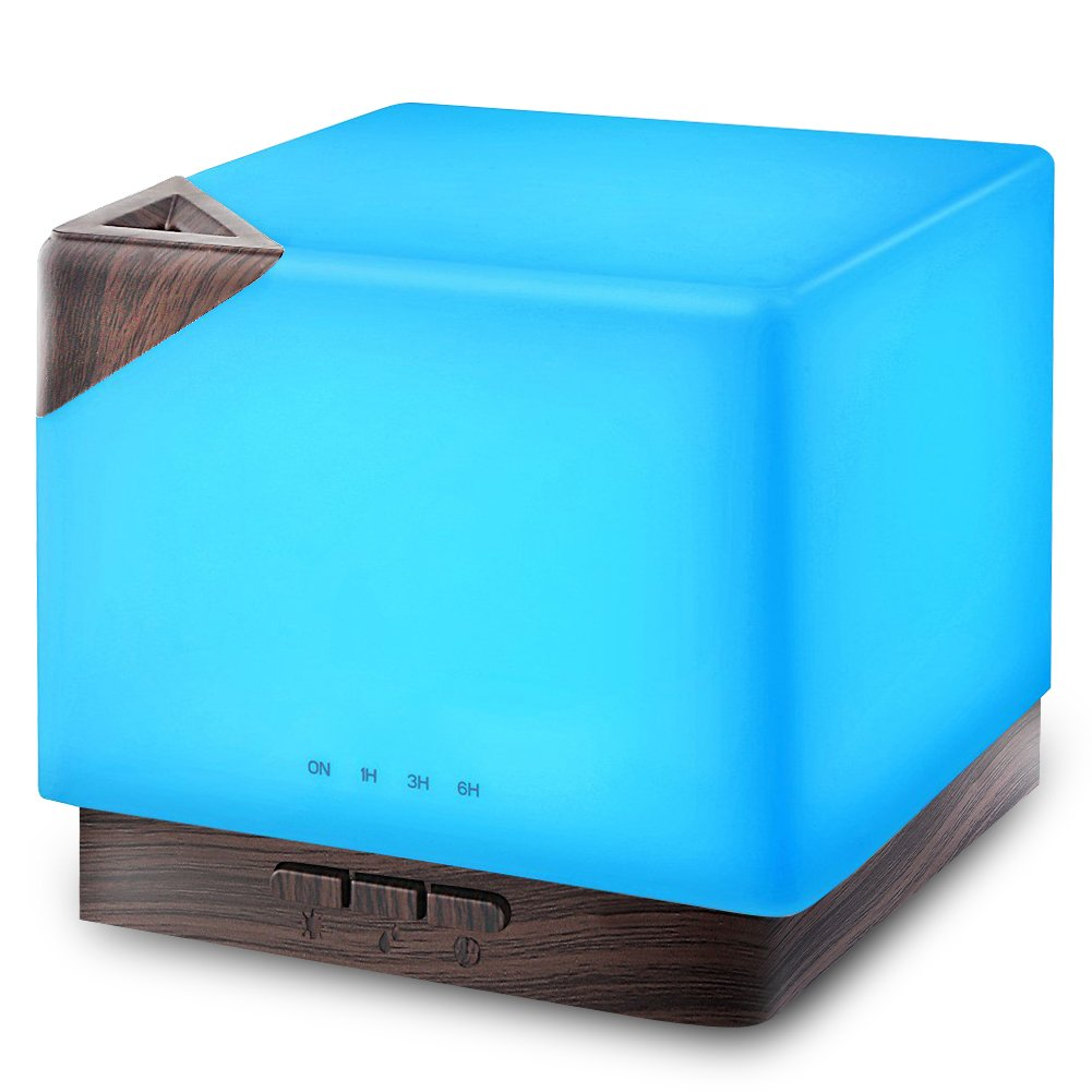 URPOWER 700ml Square Aromatherapy Essential Oil Diffuser Humidifier Large Capacity Modern Ultrasonic Aroma Diffusers Running 20+ Hours 7 Color Changing for Home Baby Bedroom Office Study Yoga Spa