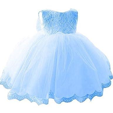 NNJXD Girls Tulle Flower Princess Wedding Dress For Toddler And Baby Girl Blue 0