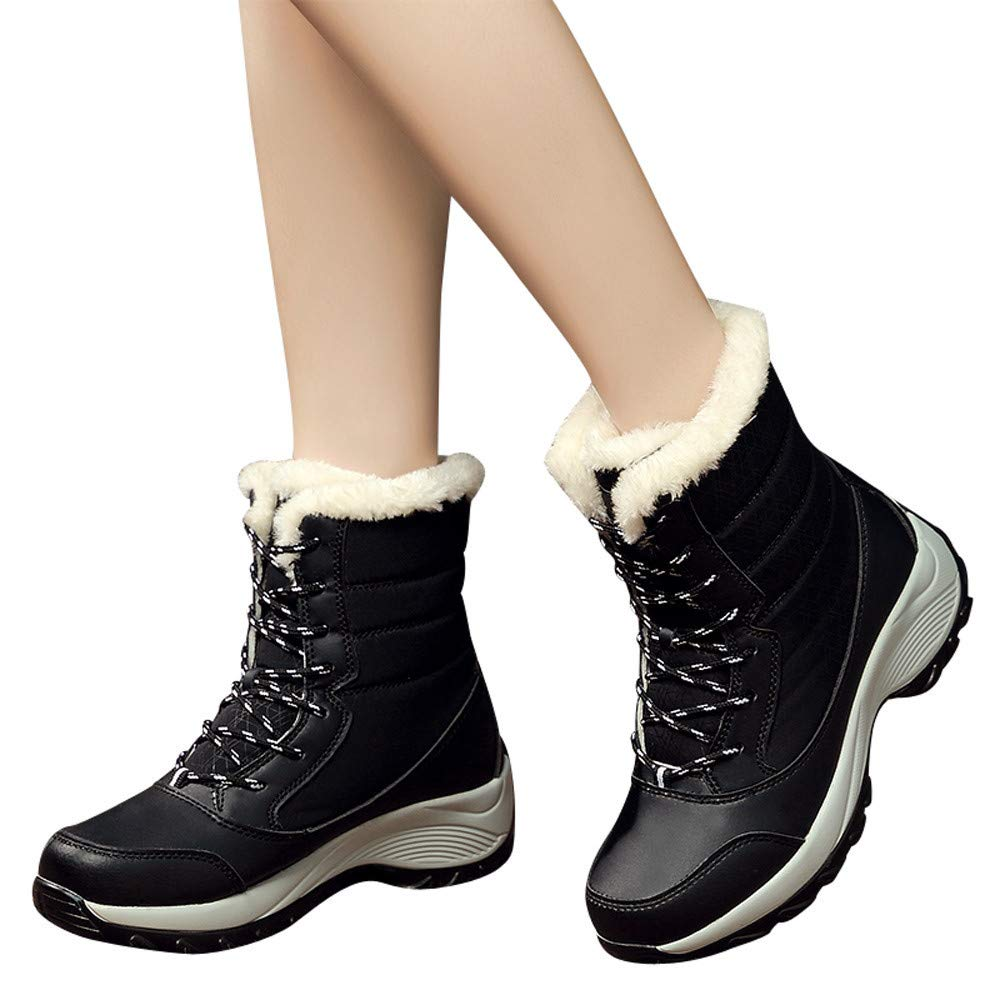 Gyoume Winter Snow Boots Women Ankle Boots Shoes Waterproof Boots Lace Up Boots Teen School Shoes