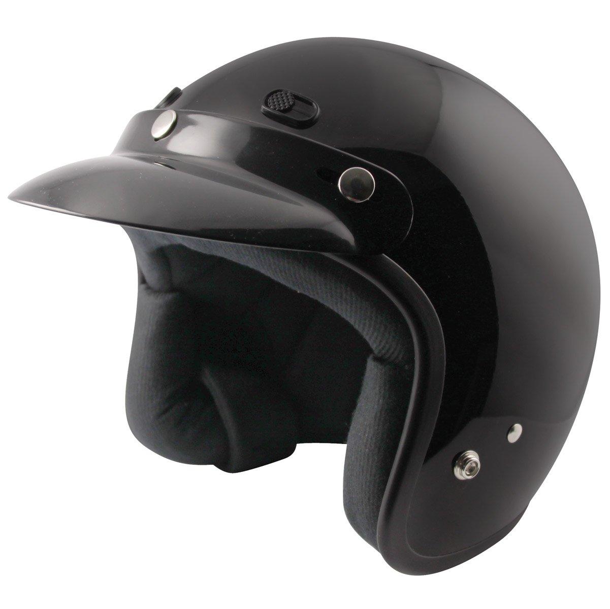 Zox クラシック 大人用 ハーレー ツーリング オートバイ ヘルメット - ソリッド光沢ブラック L ブラック  Large