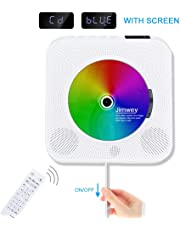 Portable CD Player, Jimwey Wall Mountable Bluetooth Built-in HiFi Speakers, Home Audio FM Radio USB MP3 Music Player, 3.5mm Headphone Jack AUX Input/output with Remote Control White Mother's Day Gifts