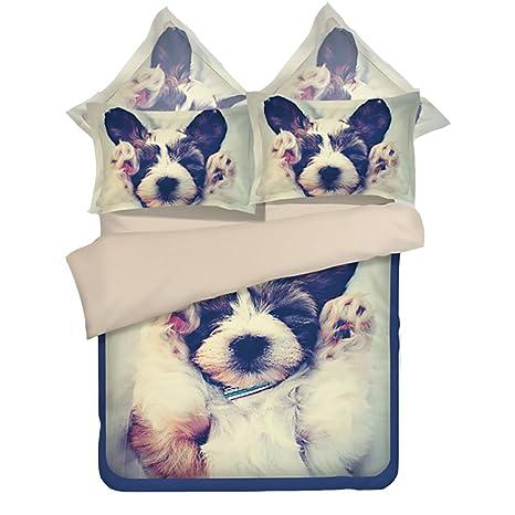 higogogo Home Textiles Super suave y medio ambiente funda de edredón, poliéster perro de caricatura funda ...