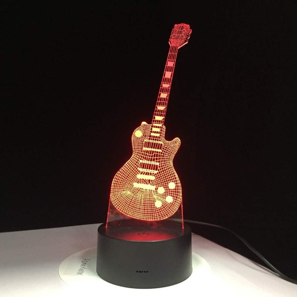 Lámpara de guitarra eléctrica 3D LED 7 Lámpara de mesa USB ...