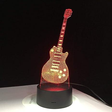 7 Lámpara 3D de guitarra Lámpara de eléctrica LED USB mesa WE29DYIH
