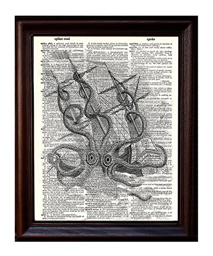 Dictionary Art Print - Kraken attacking Boat - Printed on Recycled Vintage Dictionary Paper - 8.5