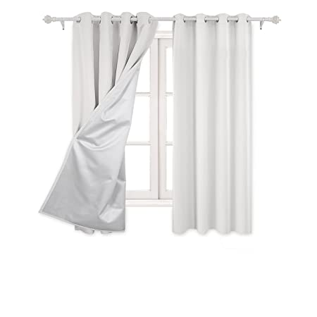 Deconovo Eyelet Curtains Ready Made Room Darkening Thermal Insulated Ring Top Blackout For Kids Bedroom