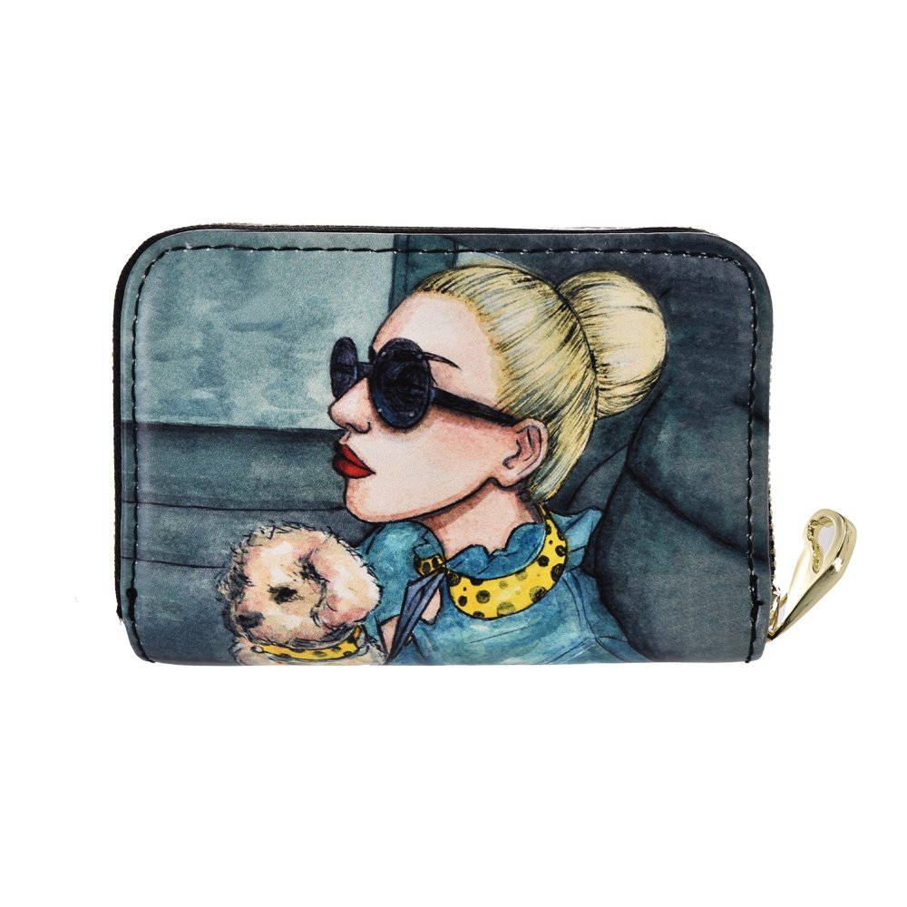 Lt Tribe Cute Queen Printed Leather Credit Card/Business Card holder Wallet with Zip Closure for Women (Queen 2 MS1243-nw)