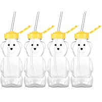 4 Pieces Juice Bear Bottles Honey Bear Drinking Bottles Plastic Reusable Drinking Cups with 4 Pieces Soft Silicone…