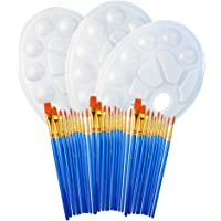 3 Set of 10pcs Round Pointed Tip Nylon Hair Brush with 3 Pcs Paint Tray Palette, Wobe 30pcs Paintbrush Plastic Mixing Tray with Thumb Hole for Kids Students Beginners
