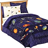 Best Comforter Set With Plushes - 6 Piece Navy Blue Outer Space Themed Comforter Review