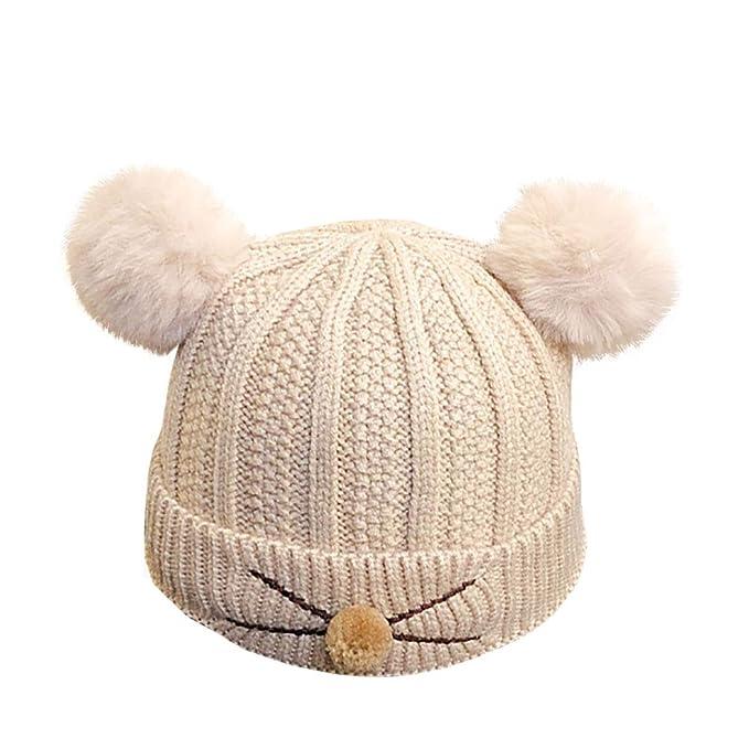 Boomly Bimba Bimbo Bambini Neonato Autunno e Inverno Caldo Cute Morbido Cappello  in Lana a Maglia f92fe7840780
