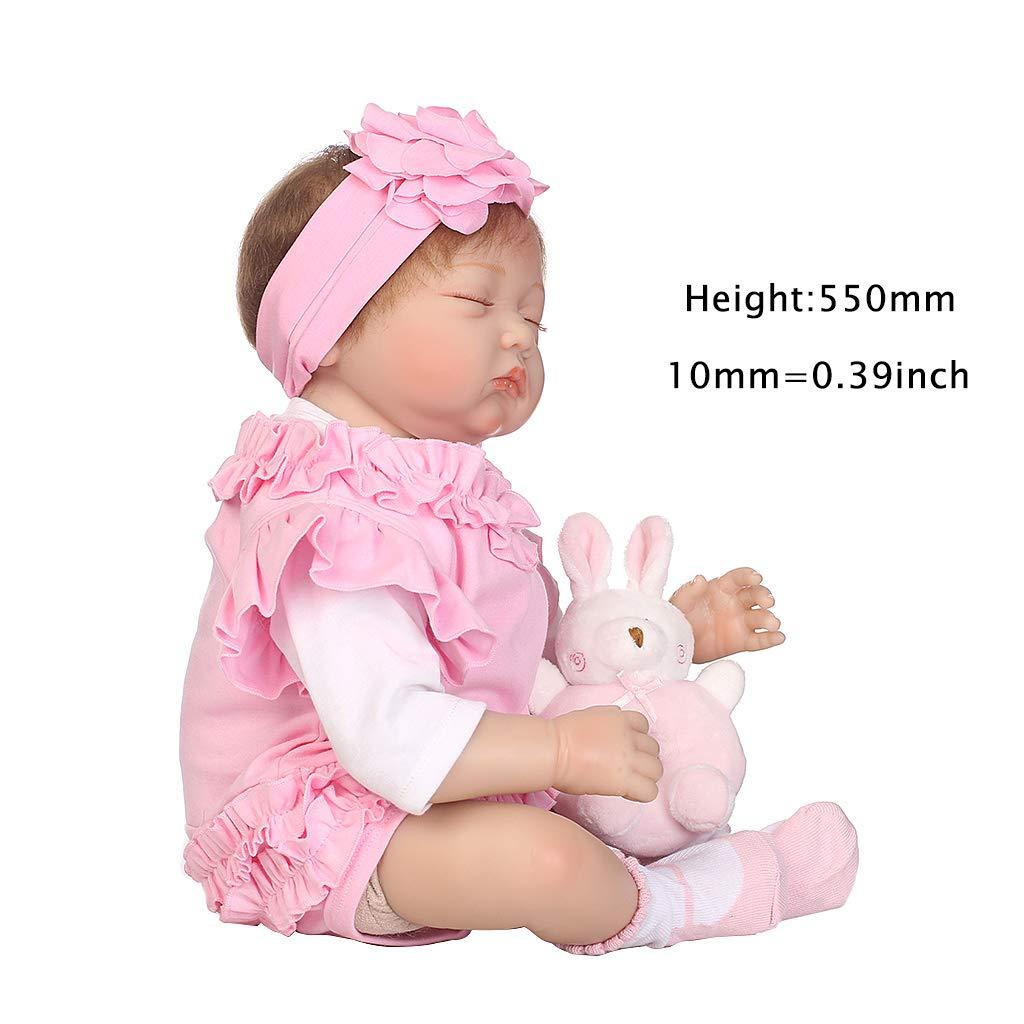 Hothap Silikon-Schlafpuppenkorb mit Hasenmotiv, Hasenmotiv, Hasenmotiv, 55 cm, naturgetreu 72c683