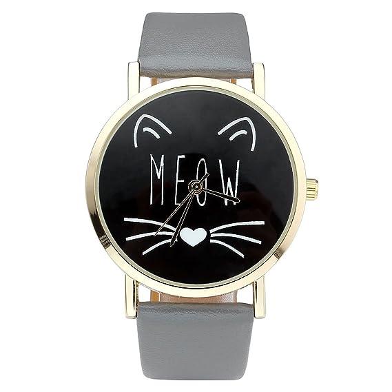 jsdde Relojes, Vintage Mujer Reloj Cute Gato Meow Diseño Reloj de Pulsera Mujer Reloj