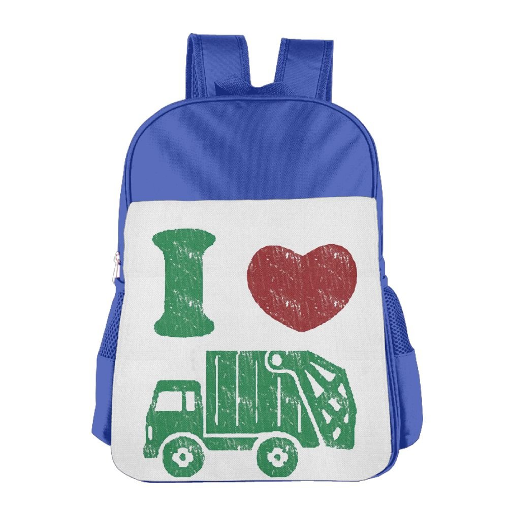 I Love Trash Garbage Trucks School Backpack Children Shoulder Daypack Kid Lunch Tote Bags RoyalBlue