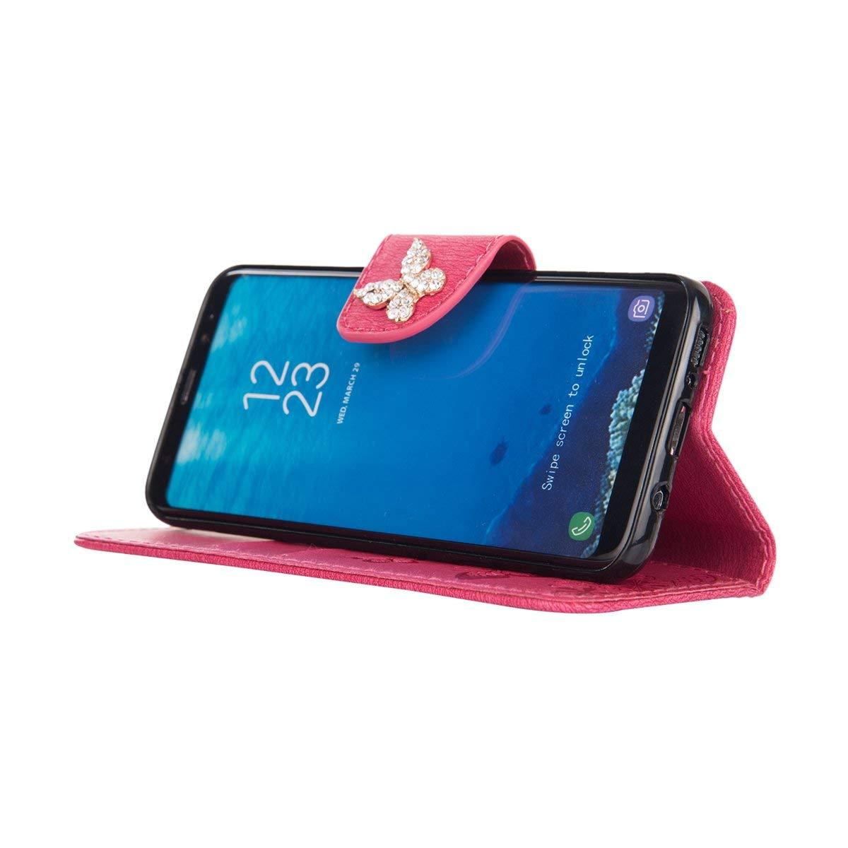 Felfy Compatible avec Galaxy S7 Coque Portefeuille Luxe Glitter Strass Diamant 3D Papillon Housse /à Rabat PU Cuir /étui de Protection Magn/étique Flip Case Bumper avec Fentes pour Cartes,Pink