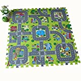 Meitoku Baby Road play puzzle mat,9pac/set Each 1''x1'', Odorless,Toys