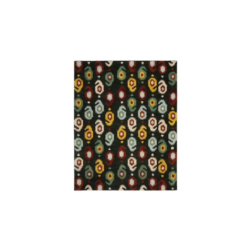 Safavieh Ikat Collection IKT471A Handmade Charcoal and Multi Premium Wool Area Rug (2 x 3)