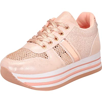 Cambridge Select Women's Low Top Lace-Up 90s Retro Glitter Chunky Stripe Flatform Platform Fashion Sneaker | Shoes