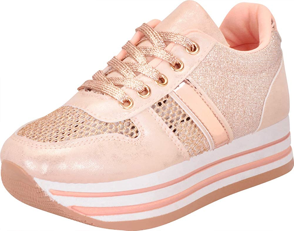 pink gold Cambridge Select Women's Low Top Retro 90s Glitter Lace-Up Chunky Stripe Flatform Platform Fashion Sneaker