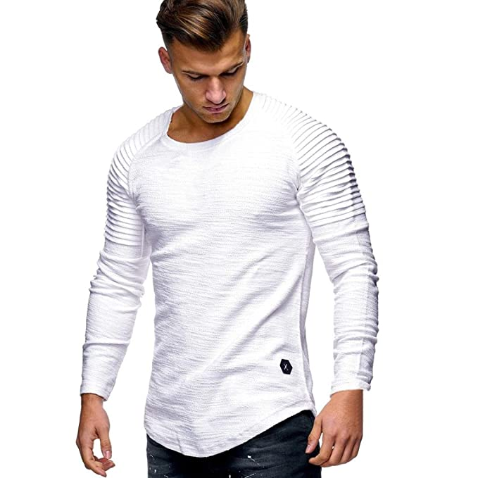 Top Casual de Hombre Camiseta de Manga Larga Color sólido Plegable Blusa Cuello Redondo