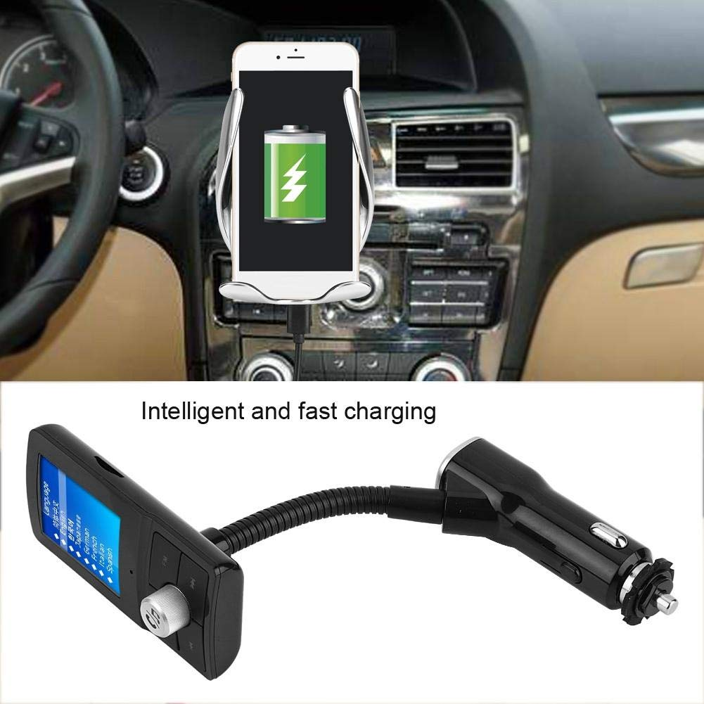 Qiilu QC3.0 4A Caricabatteria per Auto Dual USB a Ricarica Rapida BT Trasmettitore FM Vivavoce Wireless Kit Lettore MP3