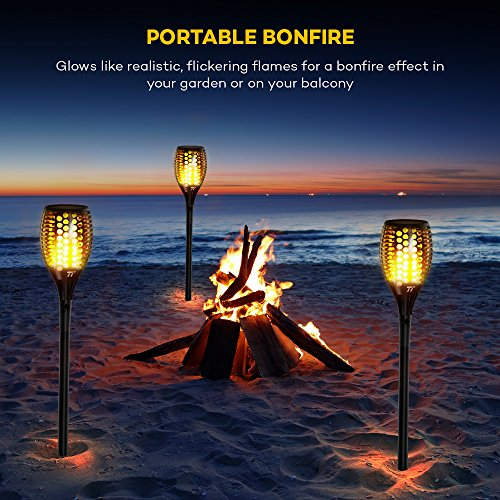 Solar Torch Lights, TaoTronics Solar Powered LED Flame Effect Light, Outdoor Landscape Decoration Path Lighting and IP65 Waterproof Build (Solid Construction, and Firm Ground Grip)--6 Pack by TaoTronics (Image #1)