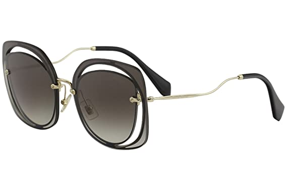 c8c3881e283e Amazon.com  Miu Miu MU54SS 1AB0A7 Black MU54SS Oval Sunglasses Lens ...