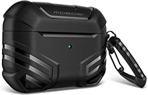 MOBOSI Vanguard Armor Series Military AirPods Pro Case, Full-Body Hard Shell Protective Cover Case Skin with Keychain for AirPod Pro 2019, Black [Front LED Visible]