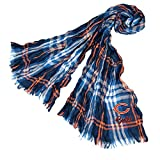 DH 70 X 25 Inches NFL Bears Crinkle Plaid Scarf, Football Themed Women Accessory Stylish Fringed Edges, Team Logo Fan Merchandise Athletic Team Spirit Fan, Navy Blue Orange, Polyester