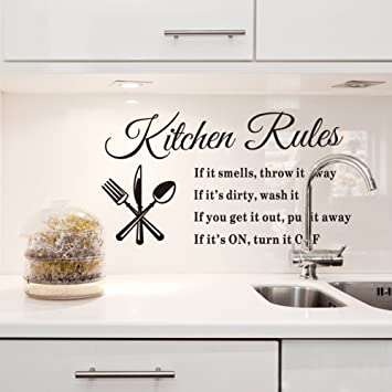 Bon Dnven 60*40cm Kitchen Rules Knives Forks Spoons Wall Stickers Removable  Waterproof Home Art Decoration
