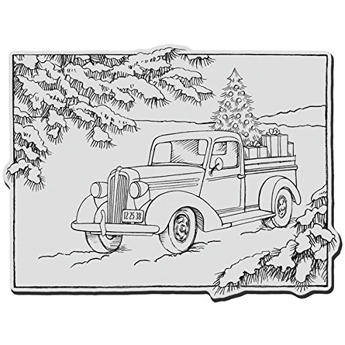 STAMPENDOUS Cling Rubber Stamp, Truck of Gifts by STAMPENDOUS