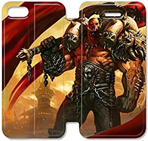 Fashion Style World Of Warcraft Grommash Hellscream Phone case Thin Slim Flip Leather Case Cover For iPhone 5 5s OOL2963141