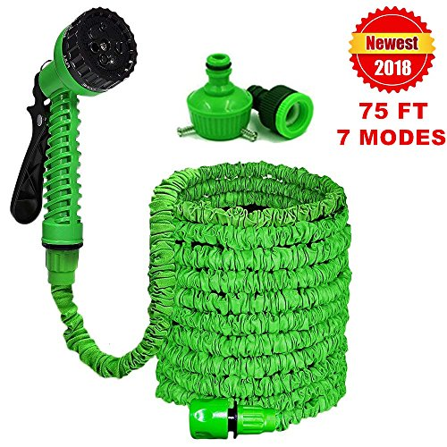 BANTER Expandable Garden Hose – 75ft Expandable Water Hose Triple Latex Core,Solid Brass Fittings,Extra Strength Fabric,Strongest Expandable Hose 7 Function Spray Nozzle