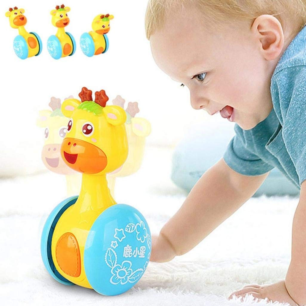 beautijiam Giraffe Tumbler Doll Baby Toys, Cute Rattles Toys for Newborns 3-12 Month Baby Boys and Girls Xmas Birthday Gifts Stocking Fillers