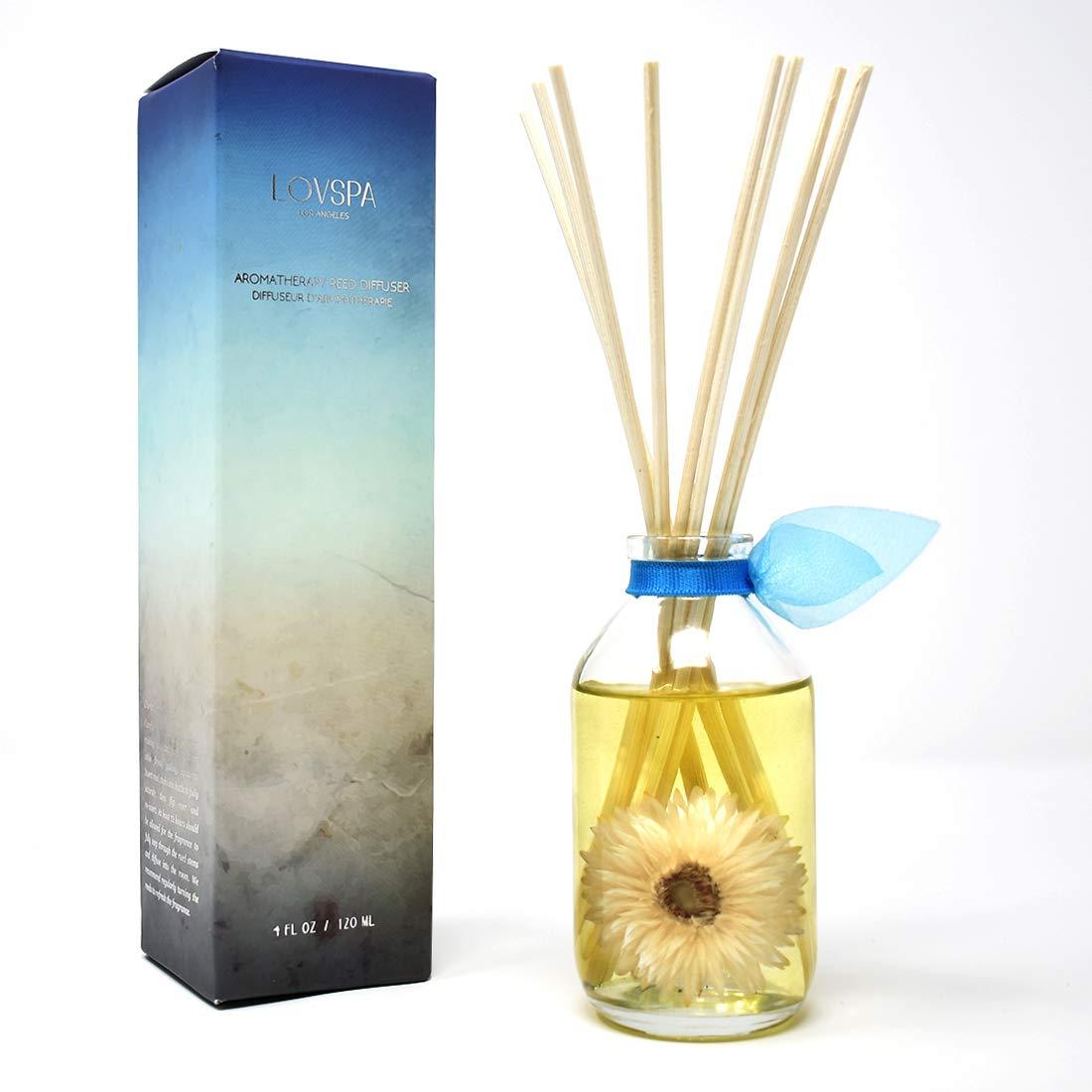 LOVSPA Ocean Flowers Reed Diffuser Oil Set | Verbena, Lily, Rose, Sandalwood & Cedar | Home Room Freshener with Real Seashells | Beautiful Beach House Decor Makes a Great Gift Idea