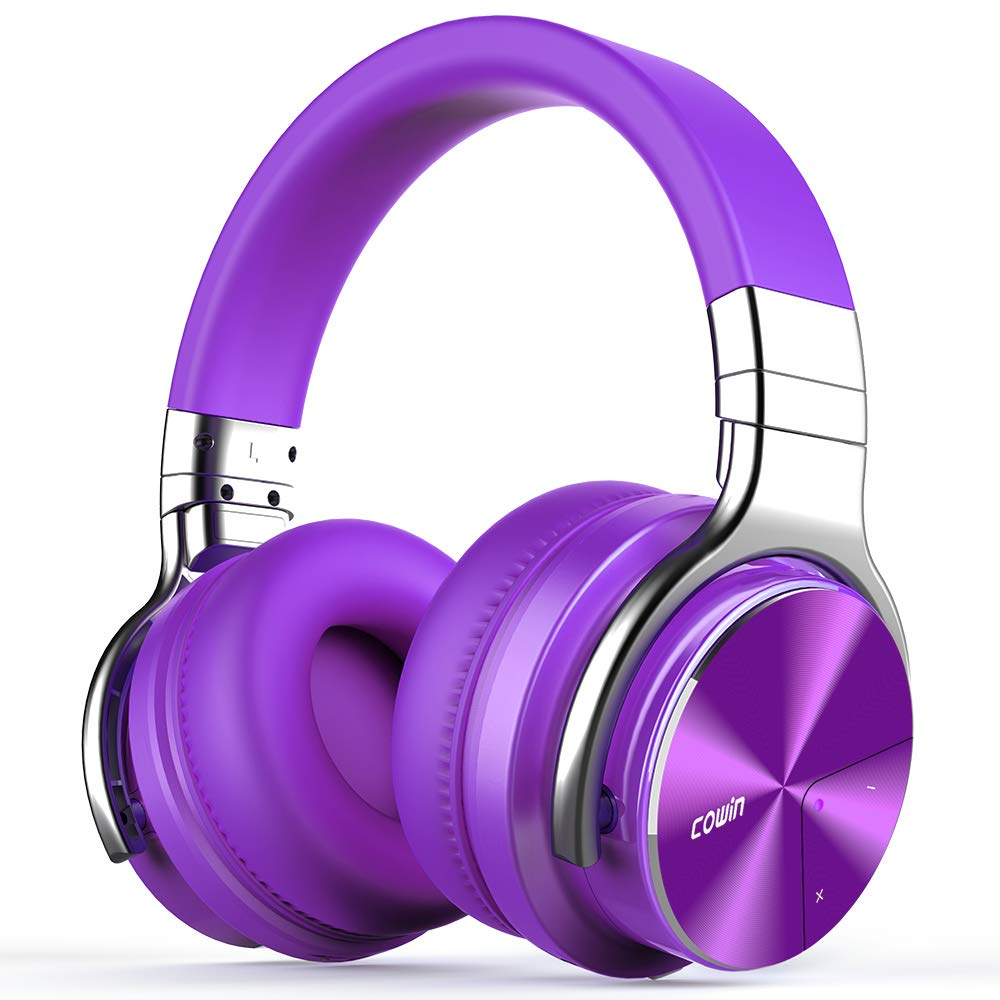 COWIN E7 PRO [Upgraded] Active Noise Cancelling Headphones Bluetooth Headphones with Microphone/Deep Bass Wireless Headphones Over Ear, 30 Hours Playtime for Travel/Work, Purple by cowin