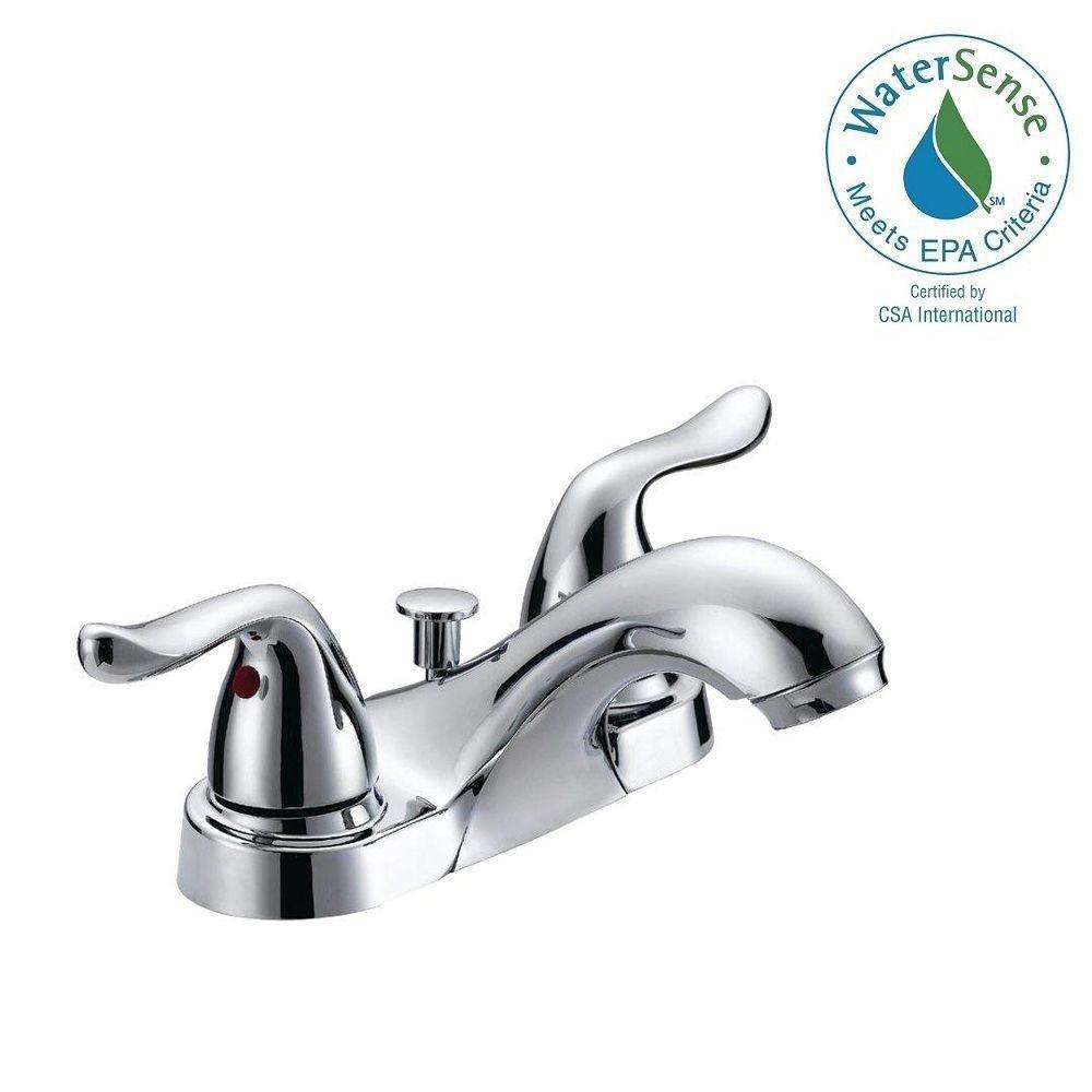 Glacier Bay Constructor 4 In. 2-handle Low-arc Bathroom Faucet in ...