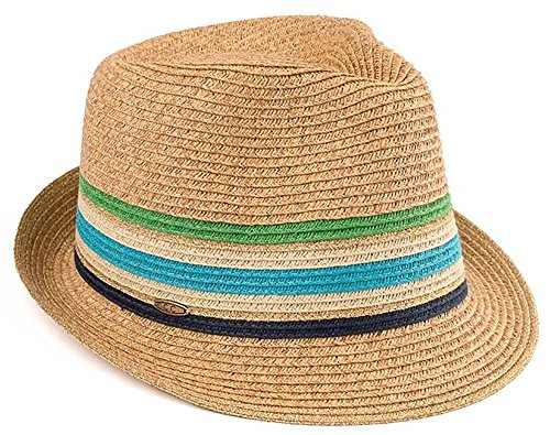 H-6108-32449 Multicolor Woven Womens Straw Fedora Hat - Blue/Green Stripes ()