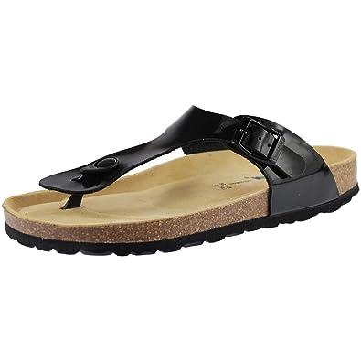 Sanosan Geneve Ladies Toe Post Sandals Lacque Black Patent HaVFiuraa