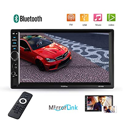 Podofo Double Din Car Stereo - Bluetooth Radio Receiver 7'' LCD Touch Screen MP3/USB/SD FM Audio/Radio Support iOS/Android Mirror Link Bluetooth Hands Free Calling: Home Audio & Theater