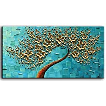 YaSheng Art - 3D Oil Painting Flowers, On Canvas Texture Palette Knife golden Flowers Tree Paintings Abstract Landscape Artwork Wall Art For Living Room Bedroom Home Decor (20X40 inch)