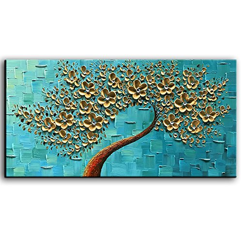 YaSheng Art – 3D Oil Painting Flowers, On Canvas Texture Palette Knife golden Flowers Tree Paintings Abstract Landscape Artwork Wall Art For Living Room Bedroom Home Decor (20X40 inch)