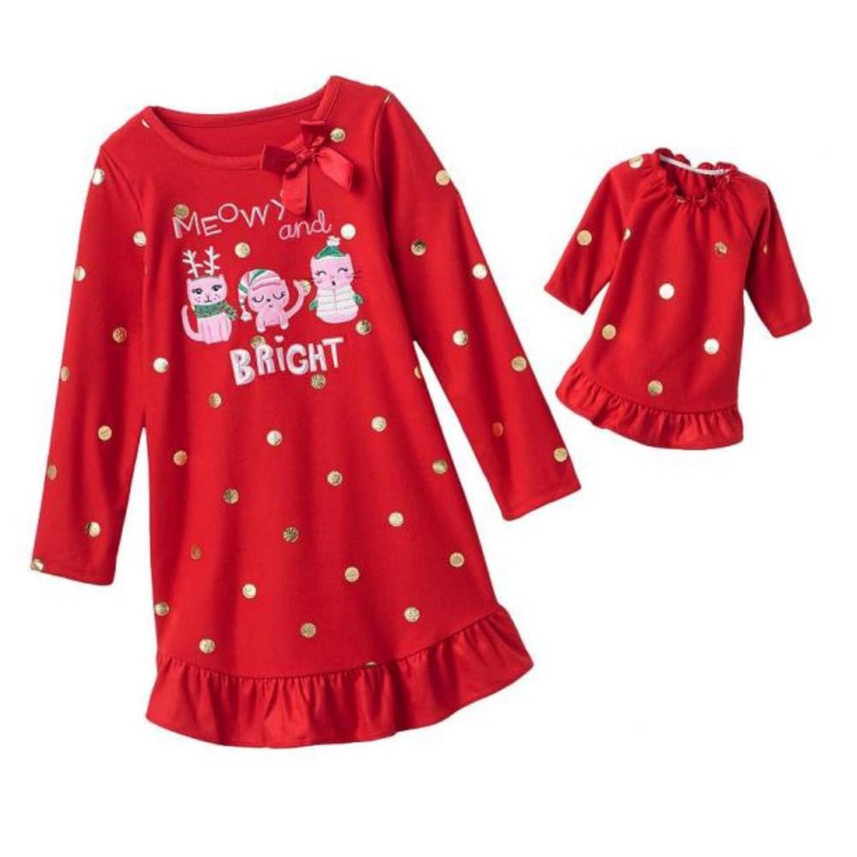 b5523945a5f6b0 Jumping Beans Girls Red Caroling Kitty Cat Nightgown   Doll Night Gown Set