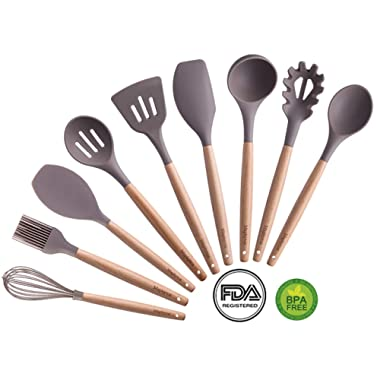 Silicone Cooking Utensils, 9 Pieces Nonstick Heat Resistant Kitchen Utensil Set BPA Free with Natural Wood Handle by Maphyton